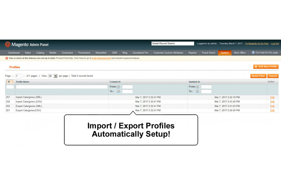 categories import export extension supports csv xml
