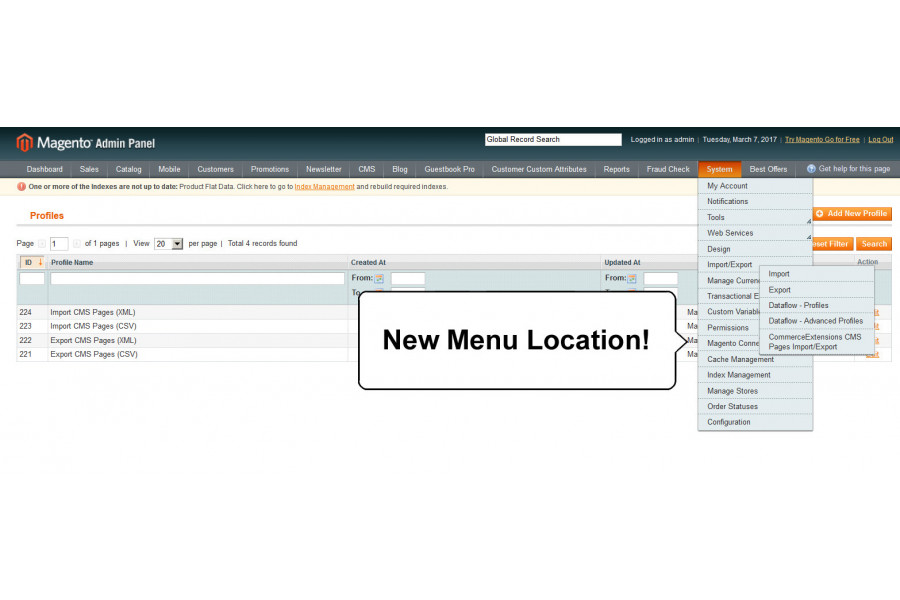 import export bulk cms pages magento extension