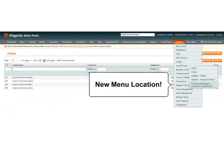 import export customers magento extension