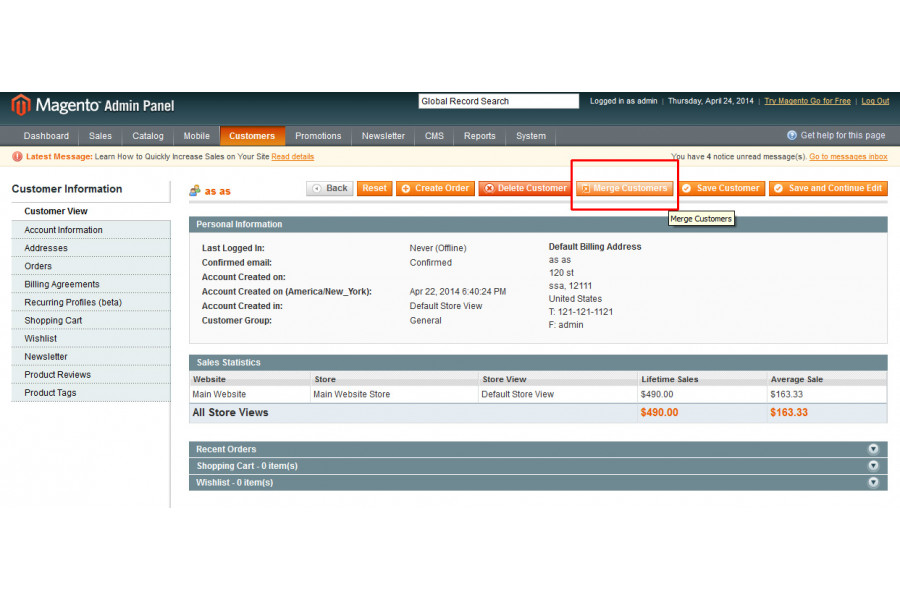 merge customer accounts magento extension